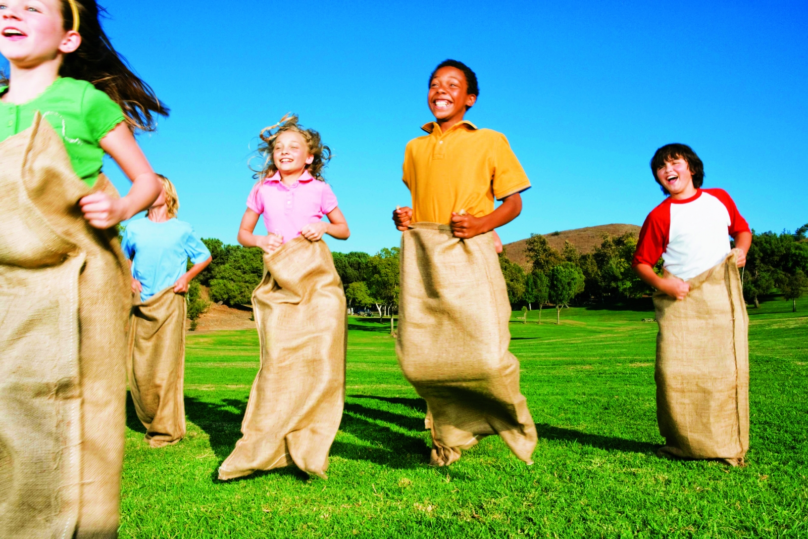 Kids in a sack race
