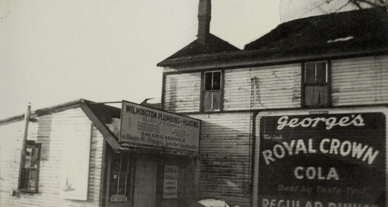 Fire-gutted building circa 1940s