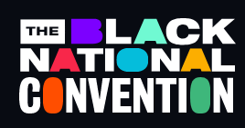 "The words ""Black National Convention"" with some letters in different colors the others in white on a black background."