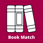 "Three books upright with the spines facing us and the farthest right at an angle. The words ""Book Match"" in which below."