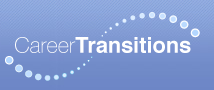 The words Career Transitions in white on a blueish background with a series of dots making a wave in the middle of the words, also in white.
