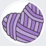 A purple heart made of yarn in a white-bordered circle