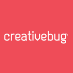 The word creativebug, in white, on a red background