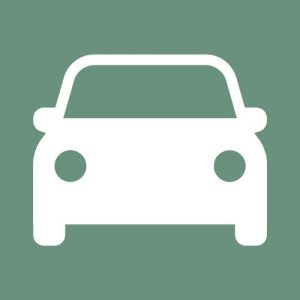 Front end of a drawing of a car in white on a teal background