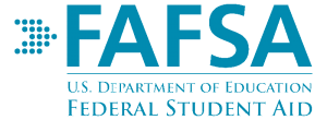 """The FAFSA Logo; an arrow made of dots to the left of the letters FAFSA, in caps, on top of a horizontal line, with the words """"U.S. DEPARTMENT OF EDUCATION"""" under the line and """"FEDERAL STUDENT AID"""" under that."""