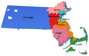 Massachusetts broken down by library consortiums The west is CW Mars and then clockwise around the East MCLV, NOBLE, MBLN, OCLN, CLAMS, SAILS, and Minuteman
