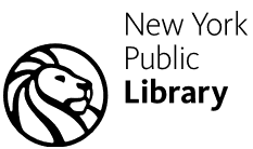 A drawing of the head of a line to the left of the words New York above the word Public above the word Library