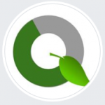 """QuaranGreen logo: a half green half grey circle with a leaf pointing down and to the right; forming a capital """"Q"""""""