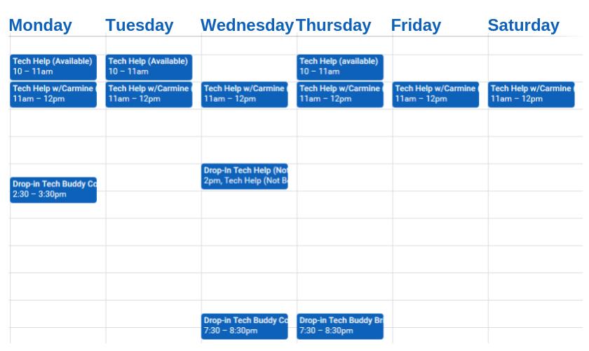 Weekly Tech Help Schedule