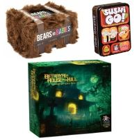 Three Game Boxes; Bears Vs Babies and Sushi Go on top of Betrayal at House on the Hill