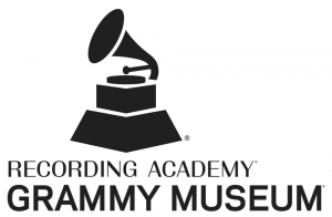 A Drawing of a Gramaphone above the words Recording Academy above the words Grammy Museum all in black