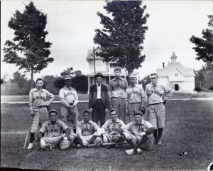 Picture of the Wilmington High School Baseball team circa 1900 on the Town Common