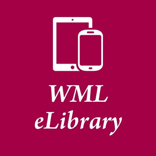 """A drawing of an iPad and a smartphone in white in the center of a red backgroudn with the word """"WML"""" in caps below that and the word """"eLibrary"""" below that. All words in white."""