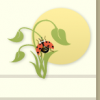 A drawing of a ladybug with wings open on a plant with the sun behind it.
