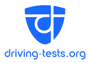 driving.test.org logo, a blue shield with a d styled to look like an intersection with the words driving.test.org (in blue) below.