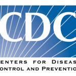 The Centers for Disease Control and Prevention logo- blue background with white lines and the white capital letters C, D, and C