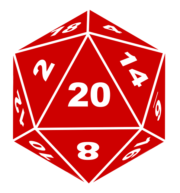 Red 20-sided die with white letters and edges