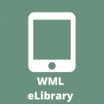 "A drawing of an iPad in the center of a green backgroudn with the word ""WML"" in caps below that and the word ""eLibrary"" below that. All words in white."