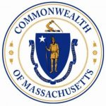 The Massachusetts State Seal: A Native American in a Blue Shield with a scroll below that saying Republic of Massachusetts, in Latin, inside a circle with the word Commonwealth at the top and Of Massachusetts at the bottom.