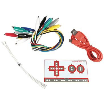 Wires, USB Cord, and control board that make up the Makey Makey