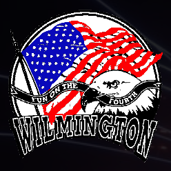 """An American Flag waving in the breeze, with the head of an eagle in front of that, a black ribbon with the white words """"Fun on the Fourth"""" in front of that and the word Wilmington below that."""