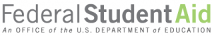 """The world """"Federal"""" in black, the word """"Student"""" in black bold, and the word """"Aid"""" in green. Below that, in black italixs is """"An office of the US Department of Edutcaion."""