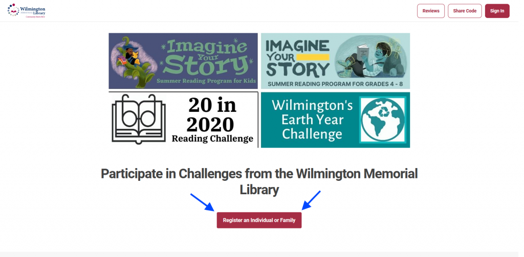 "Screenshot of the WML Beanstack home page. With banners for each of the 4 programs arranged in a square above the words ""Participate in Challenges from the Wilmington Memorial Library"" above a register button below it."