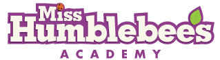 The worlds Miss Humblebees's, with the apostrophe beign a leave. The words are white with purple outlines. Below that, in purple, is the all-caps word Acadamy.