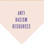 "Pink downward-pointing triangle with the words, in blue ""ANIT RACISM RESOURCES"""