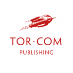 A spaceship above the words Tor.com, which is above the word publishing, all in red on white background